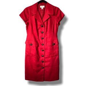 Talbots Linen Button Front Shirt Dress Midi Red